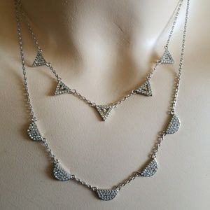 RETRO DECO DOUBLE RHINESTONE necklace STELLA & DOT